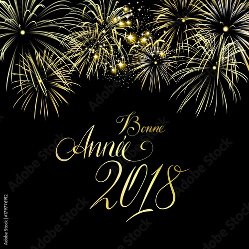 elegant new years card with golden fireworks and hand lettering bonne annee 2018 happy