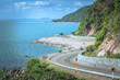 Beautiful Seascape Viewpoint of the road beside blue sea that is landmark at Kung Wiman Bay in Chanthaburi Province, Thailand.