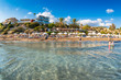 Undefinable People relaxing on Coral Bay Beach, one of the most famous beaches in Cyprus.