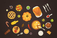 Thanksgiving Dish Menu Top View Table With Roasted Turkey Vector Cartoon. Pumpkin With Barry Pie And Meat. Vector Cartoon Illustration.
