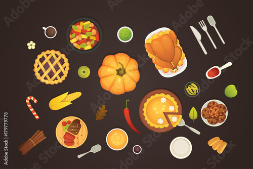 Obraz na plátně thanksgiving dish menu top view table with roasted turkey vector cartoon
