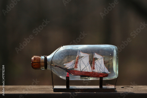 Photo  A ship in a bottle