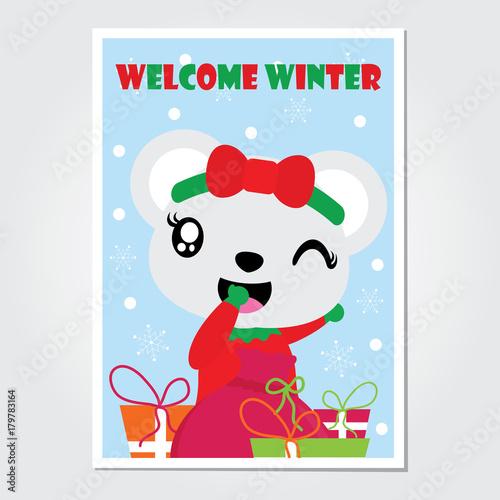 Cute bear girl and Xmas gift bag vector cartoon illustration for Christmas card design, wallpaper and greeting card