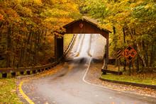 Wood Covered Bridge Surrounded...