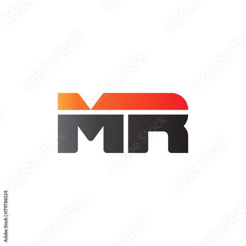 Photo  Initial letter MR, straight linked line bold logo, gradient fire red black color
