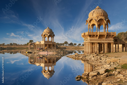 Gadi Sagar temple on Gadisar lake Jaisalmer, India.