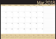 March 2018 Calendar Planner Ve...