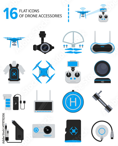 16 drone accessories icons in flat style Wall mural