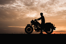 Silhouette Of Young Man Biker ...