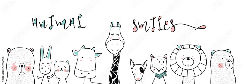 Fototapety, obrazy: cute cartoon sketch animals for t-shirt print, textile, patch, kid product,pillow, gift.vector illustrator