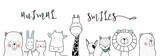 Fototapeta Fototapety na ścianę do pokoju dziecięcego - cute cartoon sketch animals for t-shirt print, textile, patch, kid product,pillow, gift.vector illustrator