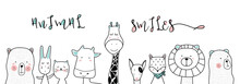 Cute Cartoon Sketch Animals Fo...