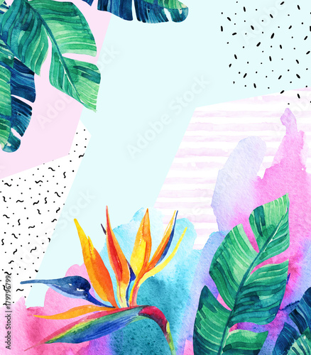 Poster Graphic Prints Watercolor exotic flowers, leaves, grunge textures, doodles.