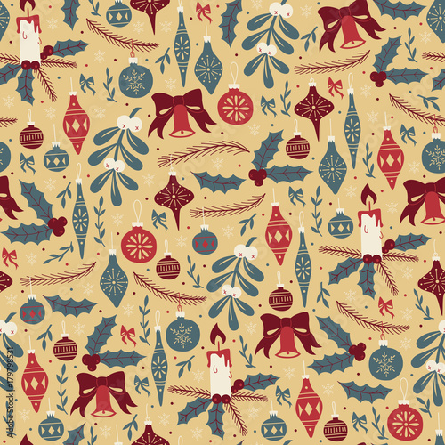 Cotton fabric Christmas Seamless Pattern with Christmas Balls and Mistletoe.