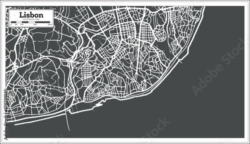 Lisbon Portugal Map in Retro Style. Wallpaper Mural