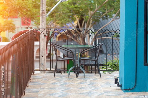 vintage seating outdoor for the guest in restaurateur Poster