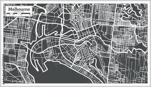 Canvas Print Melbourne Australia Map in Retro Style.