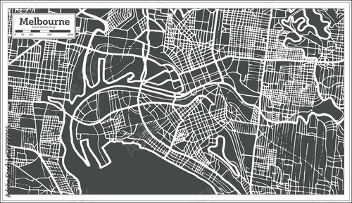 Obraz na plátně Melbourne Australia Map in Retro Style.