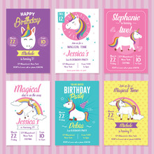 Set Of Unicorn Birthday Invita...