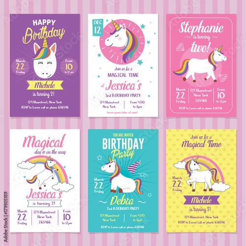 Fototapeta Set Of Unicorn Birthday Invitation Cards