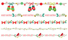 Seamless Christmas Decorative Borders Vector Illustration Set.