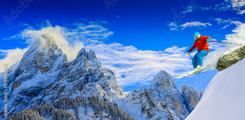 Garden Poster Winter sports Skiing with amazing panorama of Pale di Sant Martino di Castrozza, Dolomites mountain, Italy