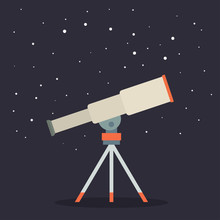 Telescope, Astronomers Equipment For Observation