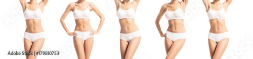 Perfect body of slim, fit and sporty woman in underwear isolated on white Tapéta, Fotótapéta