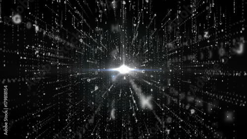 Fototapety, obrazy: Abstract Matrix Background with White Color Symbols, Technology Background Concept