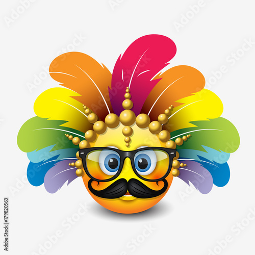 Fotografie, Tablou  Cute hipster emoticon wearing eyeglasses, mustache and carnival headdress emoji