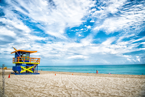 Lifeguard tower for rescue baywatch on beach in Miami, USA Canvas Print