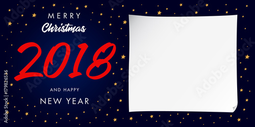 Merry Christmas 2018 And Happy New Year Calligraphic Greeting Card