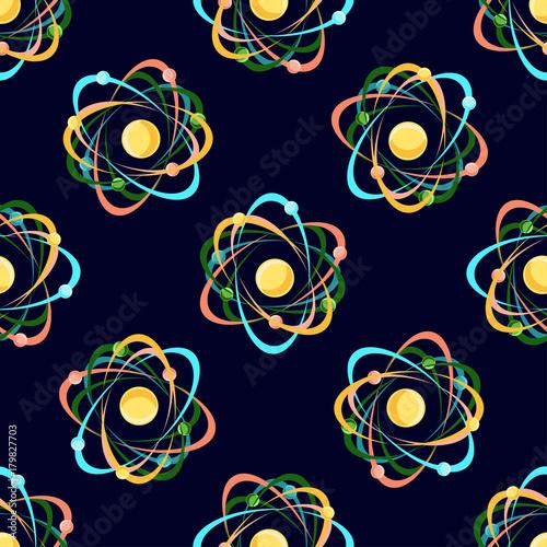 Photo Atom seamless pattern on dark blue background.