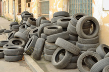 A Pile Of Old Tires.