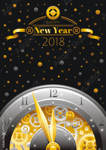 happy new year 2018 silver golden logo icon vector poster with clock gears