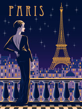 The Lady On The Balcony In The Night Of Paris. Handmade Drawing Vector Illustration. Vintage Style