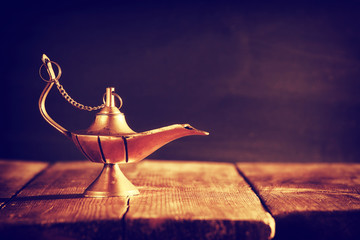 Image of magical aladdin lamp. Lamp of wishes.