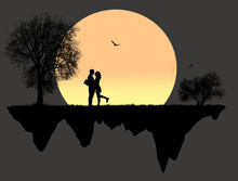 Lovers In Front A Full Moon