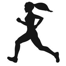 Silhouette Of A Running Sports...
