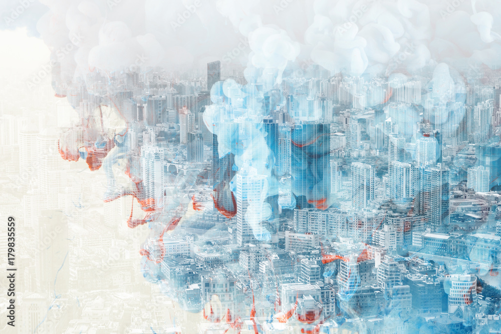 Abstract Colourful City Double Exposure