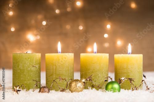 Weihnachtsbilder Zum 3 Advent.Grüne Adventskerzen Im Schnee Zum 3 Advent Buy This Stock Photo