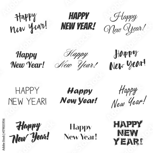 happy new year greetings vector overlay set hand lettering collection of various fonts black and white text on white background buy this stock vector and explore similar vectors at adobe stock happy new year greetings vector overlay