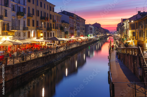 Naviglio Grande canal at sunset in Milan, Lombardia, Italy