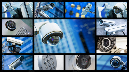 Panoramic collage of closeup security CCTV camera or surveillance system