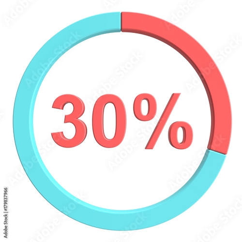 30 percent blue red and white pie chart percentage vector 30 percent blue red and white pie chart percentage vector infographics circle diagram business ccuart Image collections