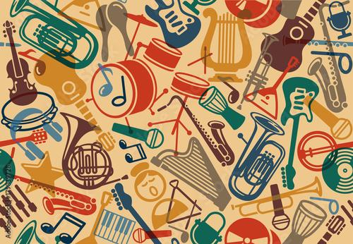 Fotografie, Obraz  Seamless musical background