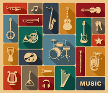 Silhouettes Of Musical Instrum...