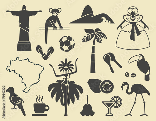 Fotografía  Brazilian icons. Vector illustration