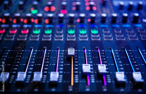 Canvas Print Professional sound and audio mixer control panel with buttons and sliders