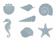Silhouettes Of Sea Inhabitants